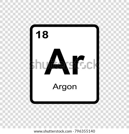 Argon Chemical Element Sign Atomic Number Stock Vector 2018