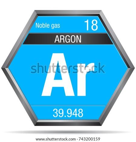 Argon Symbol Form Hexagon Metallic Frame Stock Vector Royalty Free