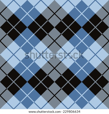 Argyle design in blue and black repeats seamlessly. - stock vector