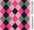 Argyle design in pink and black repeats seamlessly. Colors are grouped for easy editing. - stock vector