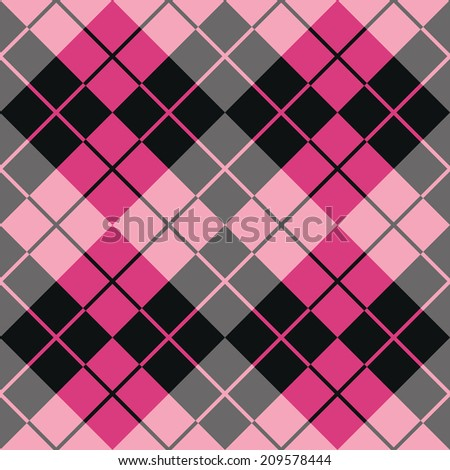Argyle design in pink and black repeats seamlessly. Colors are grouped for easy editing.