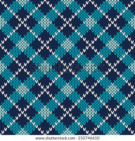 Argyle Knitted Pattern. Seamless Vector Background - stock vector