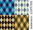 Argyle seamless pattern, four color options. Vector illustration. - stock