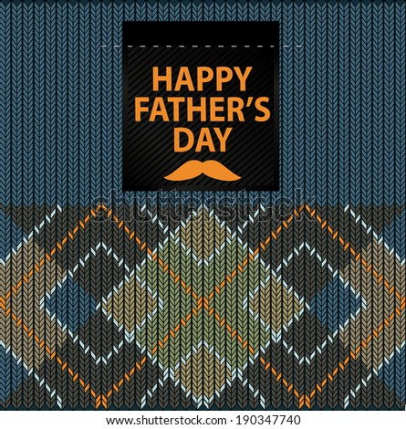 Argyle Sweater Background and happy father's day - stock vector