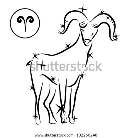 Aries/Lovely zodiac sign silhouette formed by stars isolated on white, layered eps10 format available - stock vector