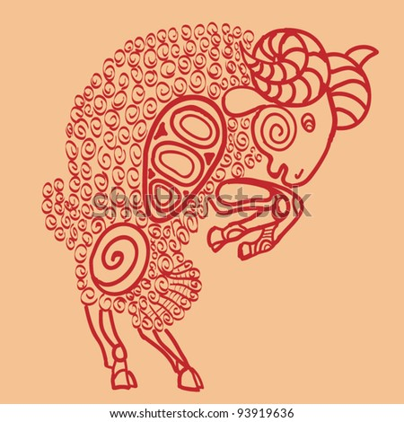 aries, sign of the zodiac - stock vector