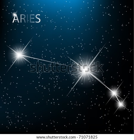 Aries vector Zodiac sign bright stars in cosmos. - stock vector