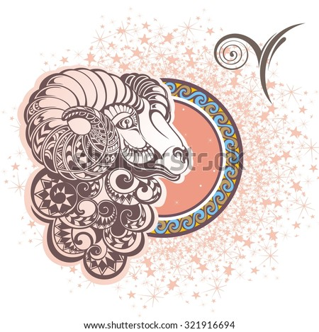 Aries. Zodiac sign - stock vector