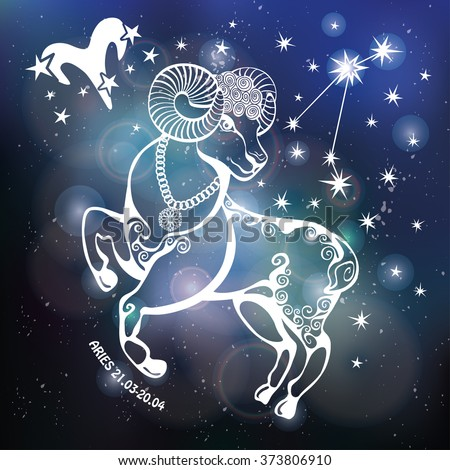 Aries Zodiac sign.Aries  Horoscope constellation,stars.Abstract space dark sky blurred background, dots stars,shiny bokeh.Vector science background.Symbol, Astrology Illustration,Aries  silhouette  - stock vector