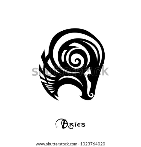 Aries Zodiac Sign Tattoo Art Vector Stock Vector 1023764020