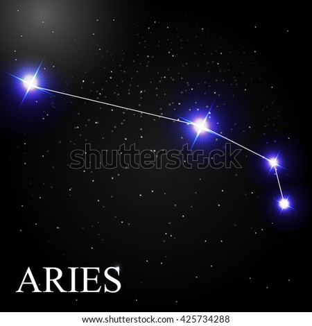 Aries Zodiac Sign with Beautiful Bright Stars on the Background of Cosmic Sky Vector Illustration EPS10 - stock vector