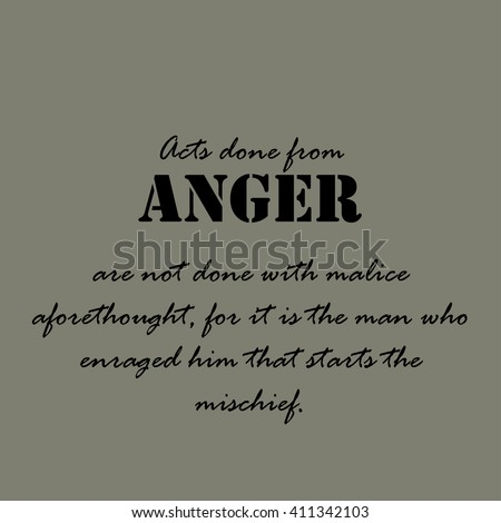 Aristotle Quotes Acts Done Anger Stock Vector 411342103