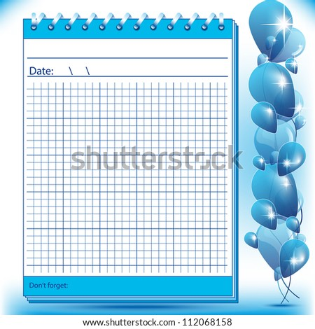 Arithmetic block notes in blue shades with balloons - stock vector