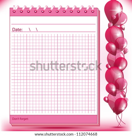 Arithmetic block notes in pink shades with balloons - stock vector