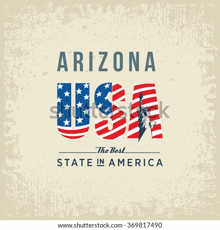 Arizona best state in America, white, vintage vector illustration