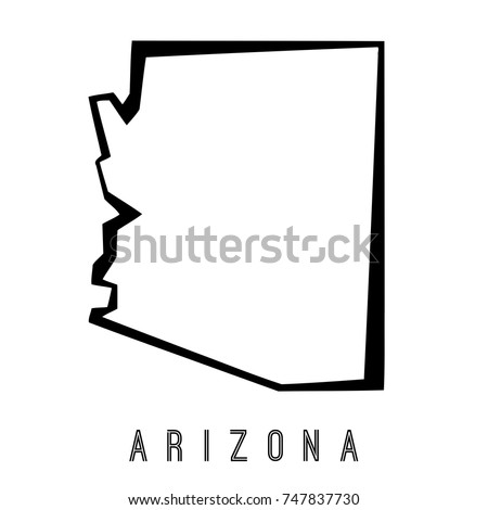 Arizona State Map Outline Smooth Simplified Stock Vector - Arizona on us map