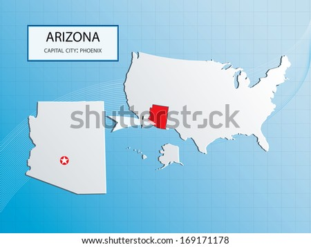 Arizona Map With Capital City Phoenix Location Marked In Usa American Map