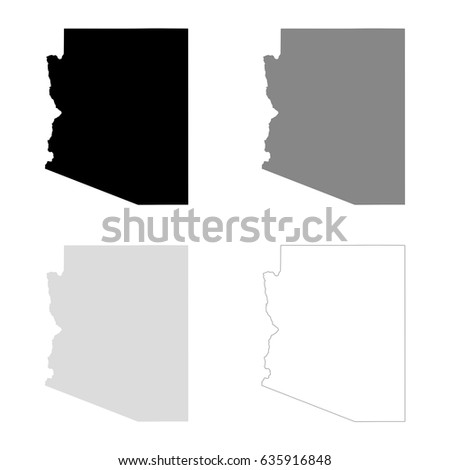 arizona maps in black gray and line art high detailed vector map easy