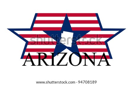 Arizona state map, flag and name. - stock vector
