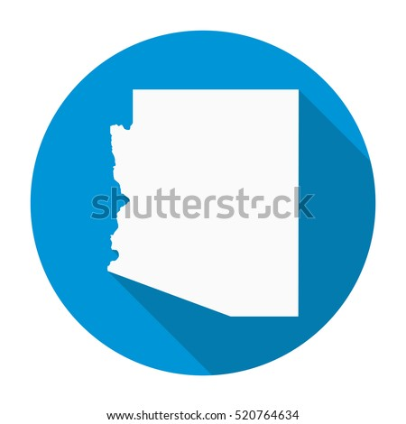 Arizona state map flat icon with long shadow EPS 10 vector illustration.