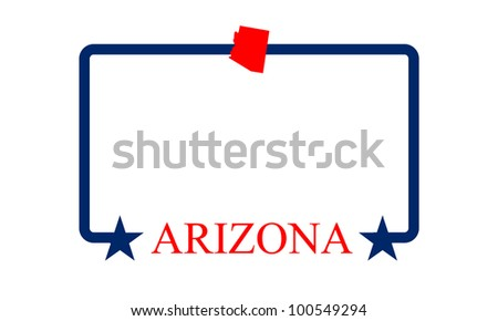 Arizona state map, frame and name. - stock vector