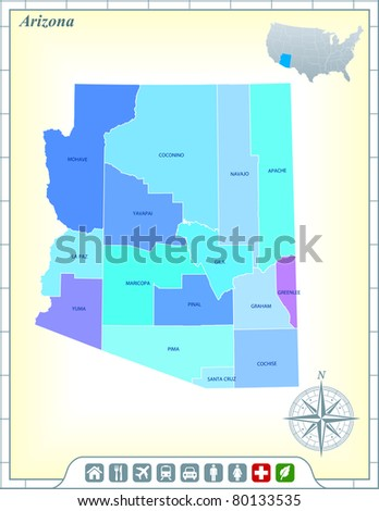 Arizona Map Stock Images RoyaltyFree Images Vectors Shutterstock - Arizona state map