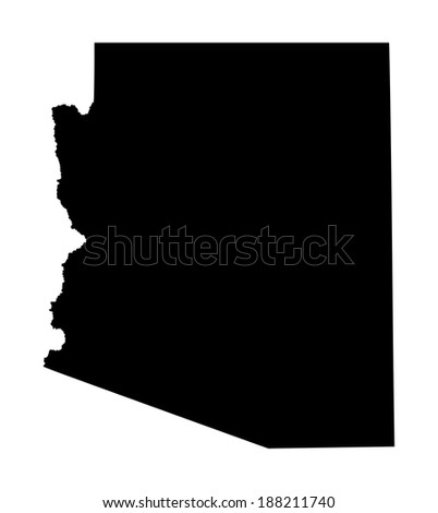 Arizona vector map isolated on white background. High detailed illustration. - stock vector