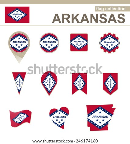 Arkansas Flag Collection, USA State, 12 versions - stock vector
