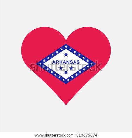 Arkansas flag heart . Love to country and state. Vector illustration EPS8 - stock vector