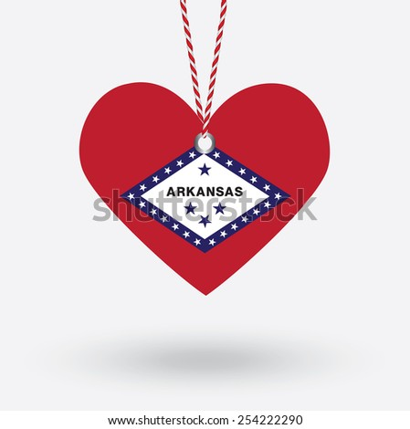 Arkansas flag in the shape of a heart with hang tags - stock vector