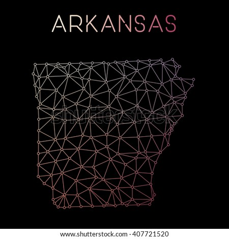Arkansas network map. Abstract polygonal Arkansas network map design with wired lines and dots. Map of Arkansas network connections. Vector illustration. - stock vector