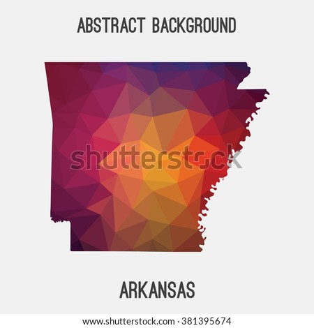 Arkansas state map in geometric polygonal style.Abstract tessellation,modern design background. Vector illustration EPS8