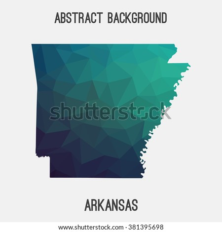 Arkansas state map in geometric polygonal style.Abstract tessellation,modern design background. Vector illustration EPS8 - stock vector