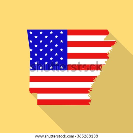 Arkansas state map in style of USA national flag. Flat style with long shadow - stock vector