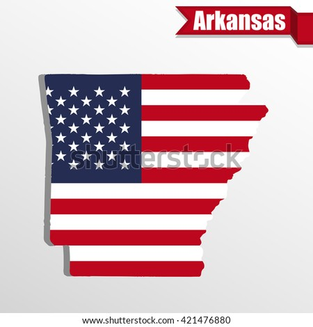 Arkansas  State map with US flag inside and ribbon - stock vector