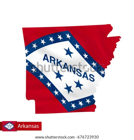 Arkansas State Map With Waving Flag Of Us State Vector Ilration