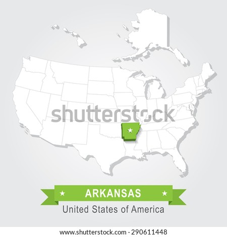 Arkansas state. USA administrative map. - stock vector