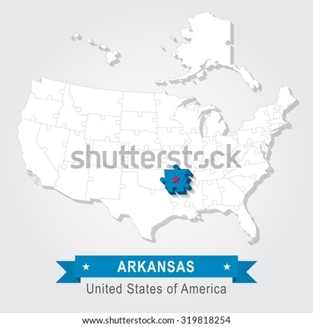 Arkansas state. USA administrative map.