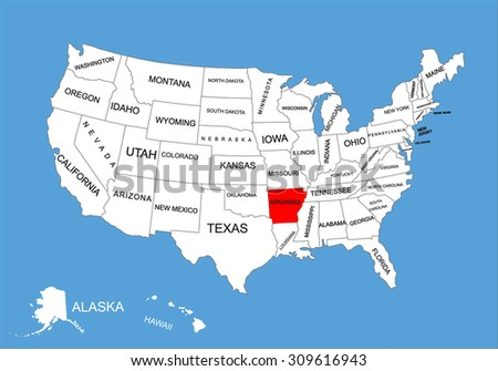 Arkansas State Usa Vector Map Isolated Stock Vector - Arkansas map us