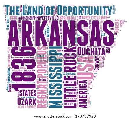 Arkansas USA state map vector tag cloud illustration - stock vector