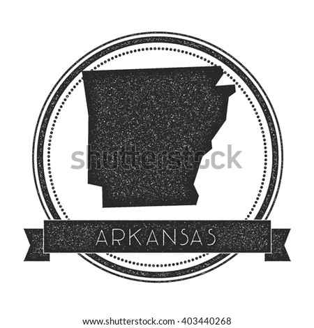 Arkansas Vector Map Stamp Retro Distressed Insignia With Us State Map Hipster Round Rubber
