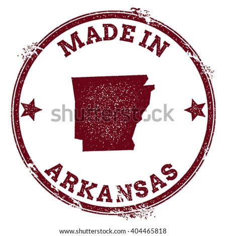 Arkansas vector seal. Vintage USA state map stamp. Grunge rubber stamp with Made in Arkansas text and USA state map, vector illustration. - stock vector