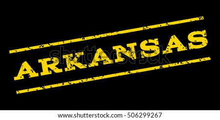 Arkansas watermark stamp. Text Caption between parallel lines with grunge design style. Rubber seal stamp with dirty texture. Vector yellow color ink imprint on a blue background.