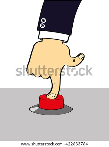 Arm and hand of a person in a suit pressing their index finger down on a big red button in a control panel - stock vector