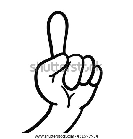 Arm. Pointer. Vector. Sketch . On a white background. Forefinger.