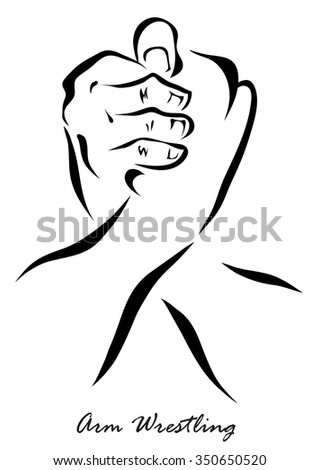 Arm Wrestling. Vector illustration isolated on a white background