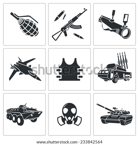Armament Vector Isolated Flat Icons Set - stock vector