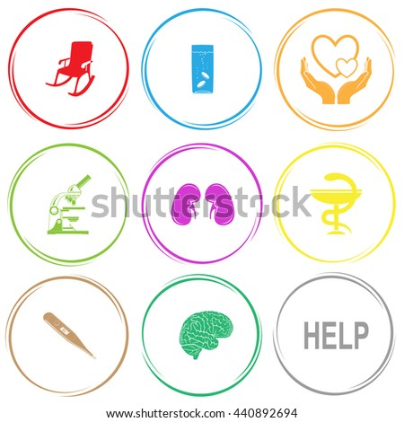 armchair, glass with tablets, love in hands, lab microscope, kidneys, pharma symbol, thermometer, brain, help. Medical set. Internet button. Vector icons. - stock vector
