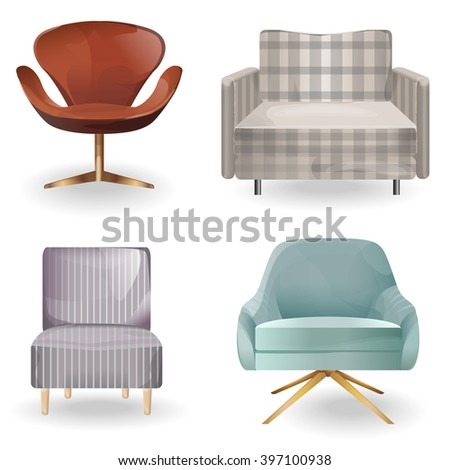 armchair isolated vector.Collection types seating. Simple cartoon isolated vector illustration. Furniture set. furniture design. Elements of interior. - stock vector