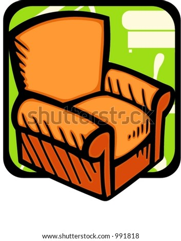 Armchair.Pantone colors.Vector illustration